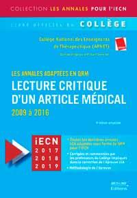 Lecture critique  d'un article Médical 2009 à 2016