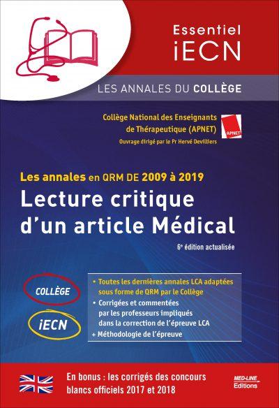 Les annales en QRM DE 2009 à 2019 – Lecture critique d'un article Médical
